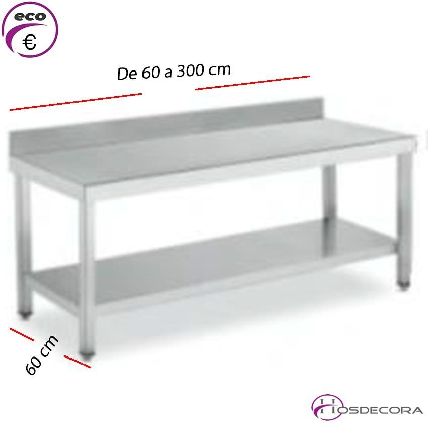 Mesa BAJA Peto- estante Fondo 60 cm-Largo de 60 a 300 cm.