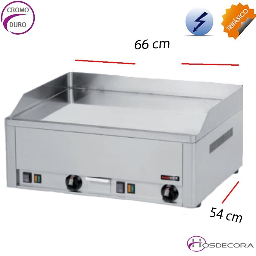 Plancha de bar electrica Cromo 66 x 54 -6 kw -10 mm.