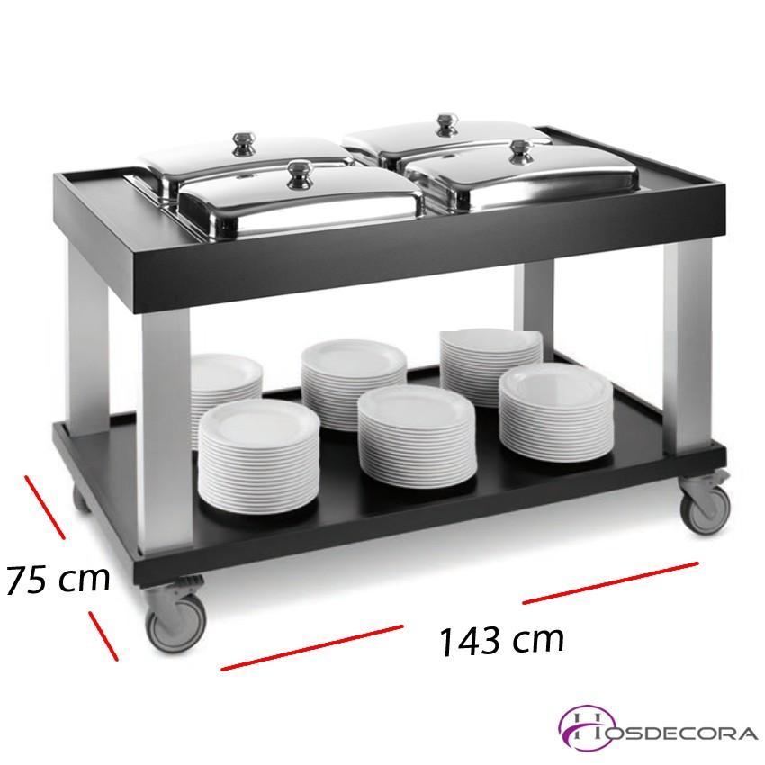 Carro buffet en madera y aluminio- 143 x 75 cm.