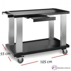 Carro buffet con 2 estantes en madera- 105 x 55 cm.