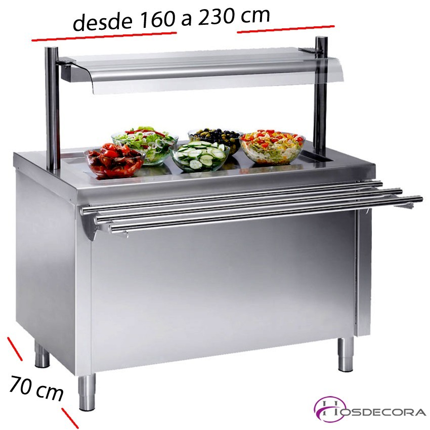 Mesas Sel-service Placa fría y reserva desde 160 a 230 cm.
