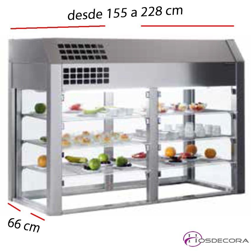 Vitrina refrigerada 3 niveles sin base desde 155 a 228 cm.