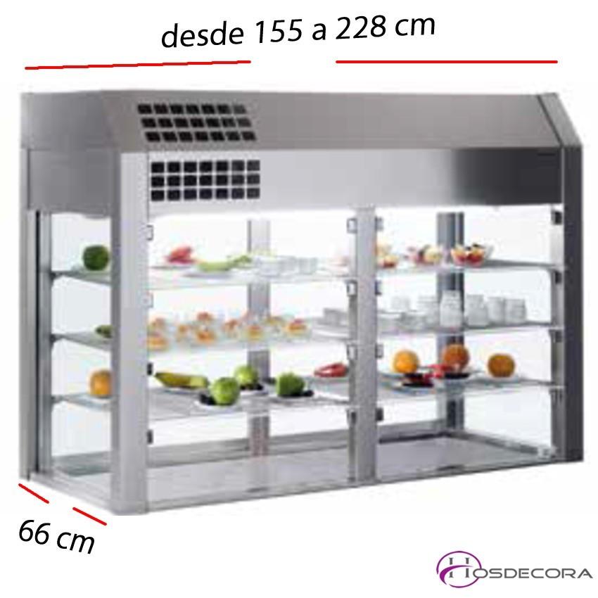 Vitrina refrigerada 3 niveles con BASE desde 155 a 228 cm.