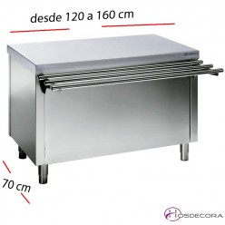 Mesas Sel-service con RESERVA caliente desde 120 a 160 cm.