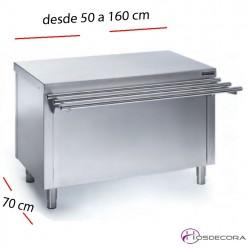 Mesa neutra Self-service con estante desde 50 a 160 cm