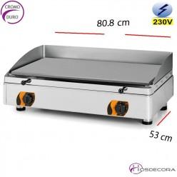 Plancha Electrica restaurante cromo 808x530-15mm espesor