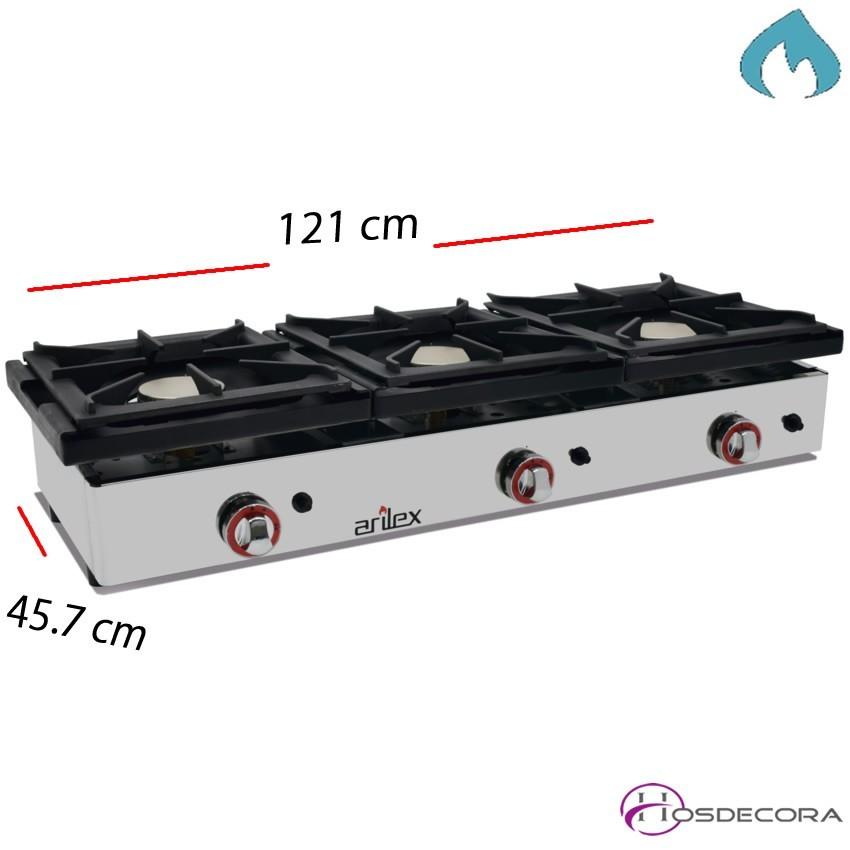 Cocina con Gas 2 Fuegos 12 Kw Sobremostrador