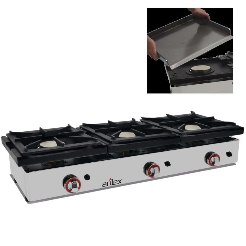 Cocina de encimera con gas desmontable para limpieza for Cocina 3 fuegos sobremesa