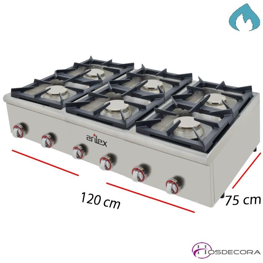 Cocina 2 Fuegos a Gas Fondo 75 cm 12 Kw