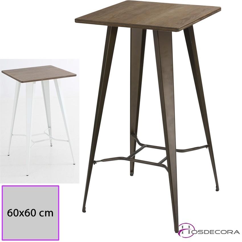 Mesa de madera alta borja para taburetes de bar uso interior for Mesas en madera para bar