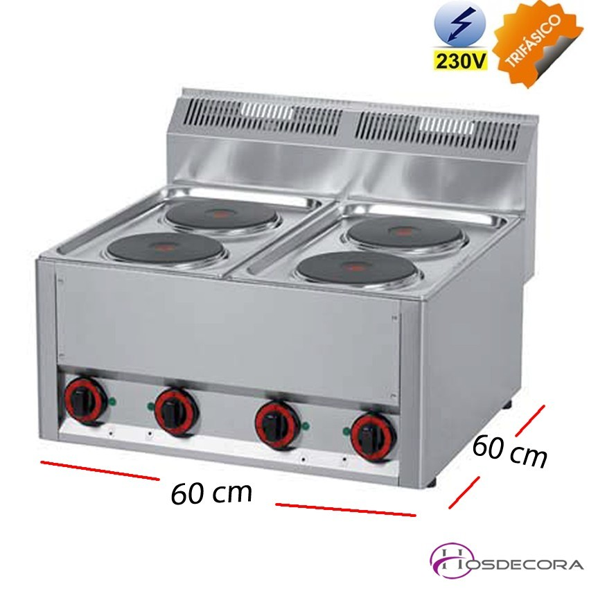 Cocina eléctrica 2 fuegos 3 Kw fondo 60 cm.