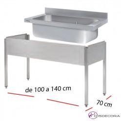 Fregadero 1cuba gran capacidad desde 100 cm.