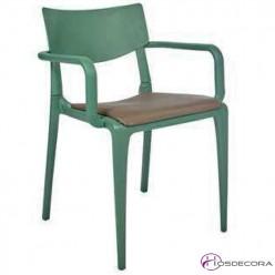 Silla de exteriore scon asiento tapizado apilable Tapitown