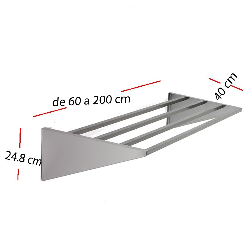 Estanteria de pared inox de 100 x 40 cm F0100211
