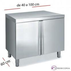 Muebles de cocina en acero inox y encimeras con puertas for Muebles cocina 50 cm ancho