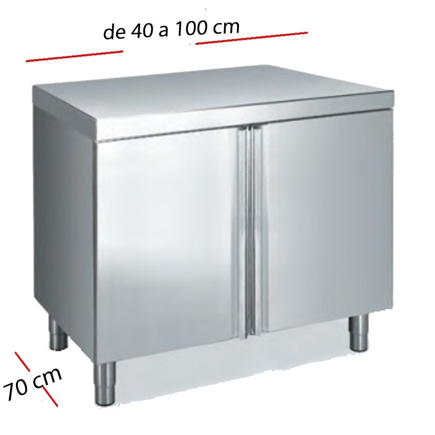 Mesa inox puertas practicables 80 x 60 cm F0070083