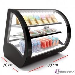 Vitrina exposición 4 caras cristal apertura trasera a 90º