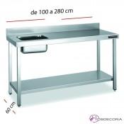 Mesa inox con cubeta izq 100 x 60 cm -FMCH1061