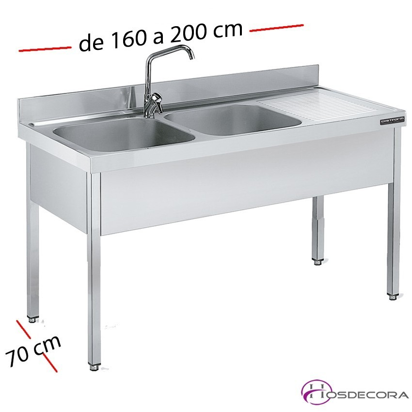 Fregadero inox 140 x 70 cm sin estante - 1 Cubeta