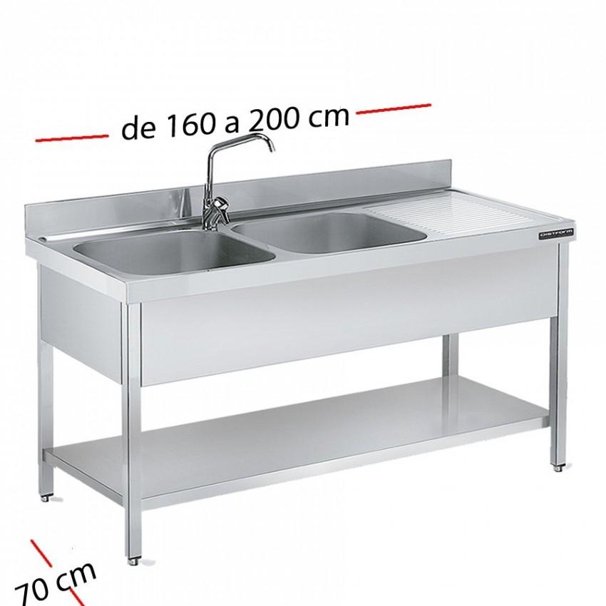 Fregadero industrial 140 x 70 cm con estante - 1 Cubeta y escurridor