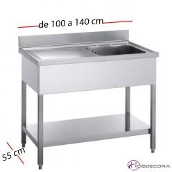Fregadero industrial 120 x 55 cm Con estante - 1 Cubeta