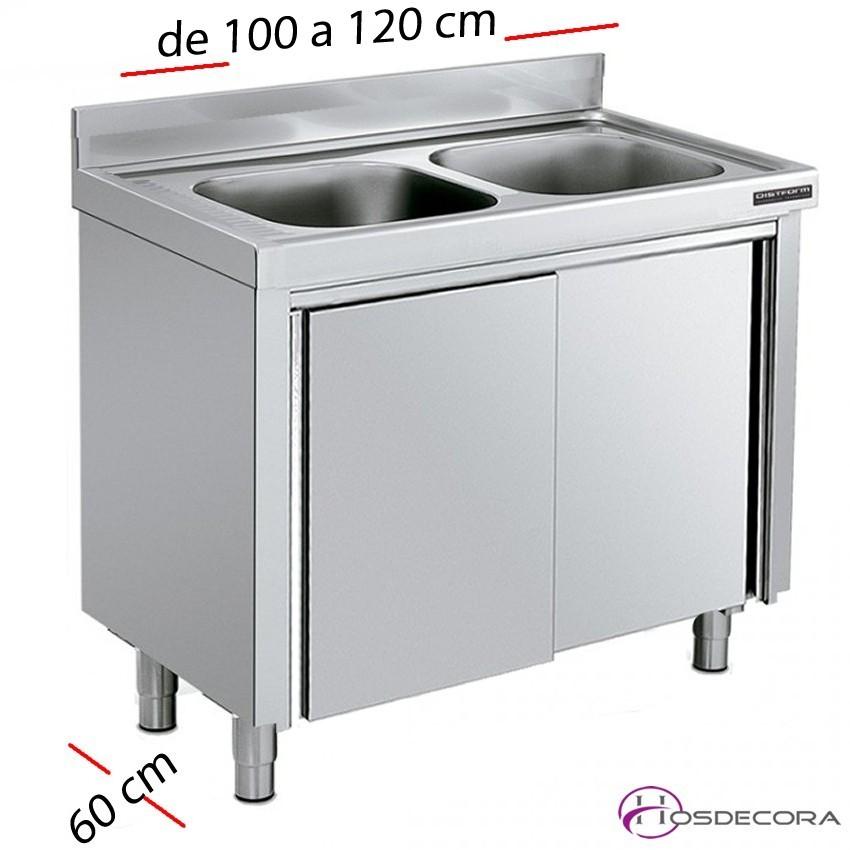 Fregadero inox de 100 a 130 x 60 cm- 2 Cubeta