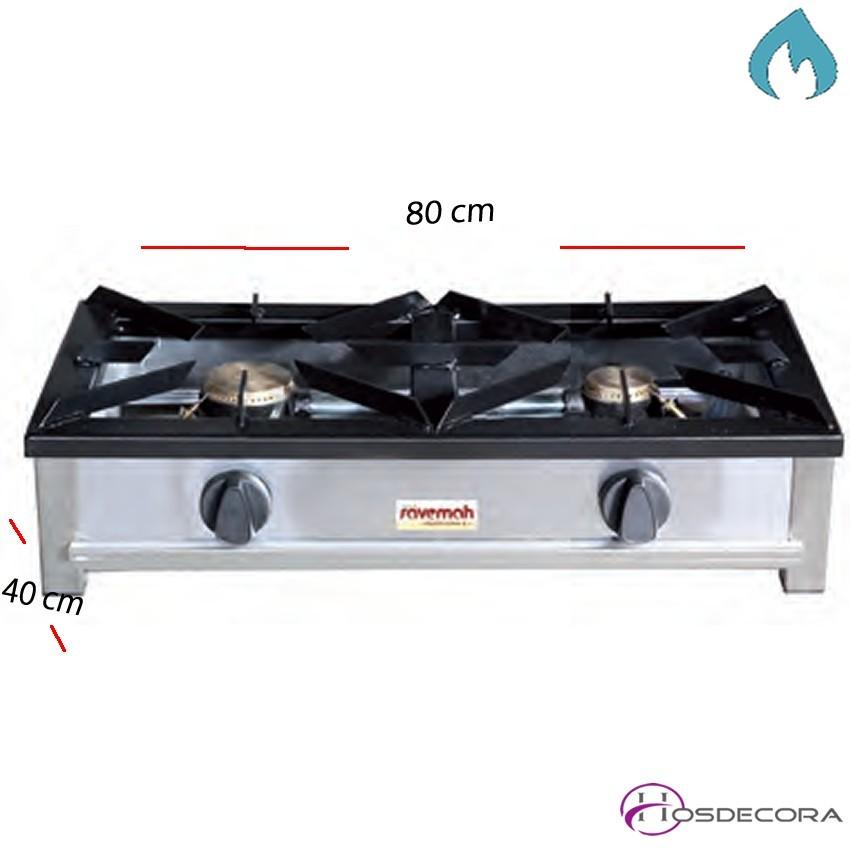 Cocina a gas sobremesa 2 Fuego de 2 y 3.1 Kw.54-HG-2
