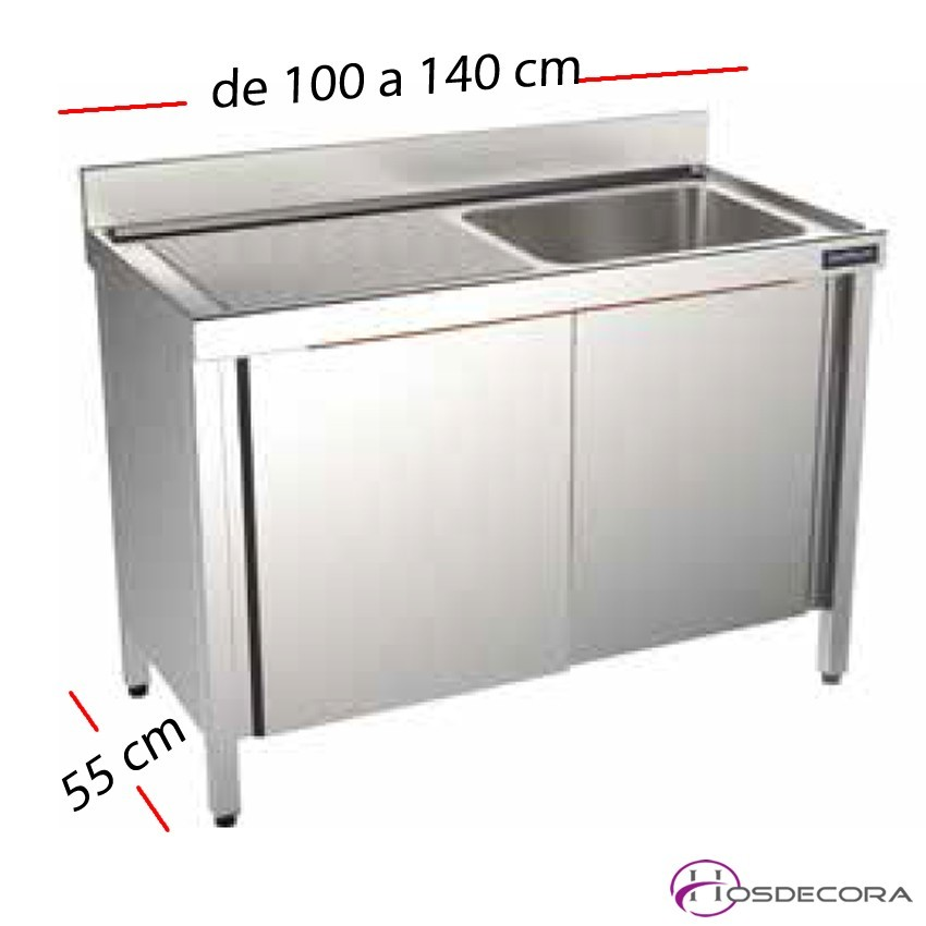 Fregadero con puertas desde 100 a 140 cm x 55 cm- 1 Cubeta