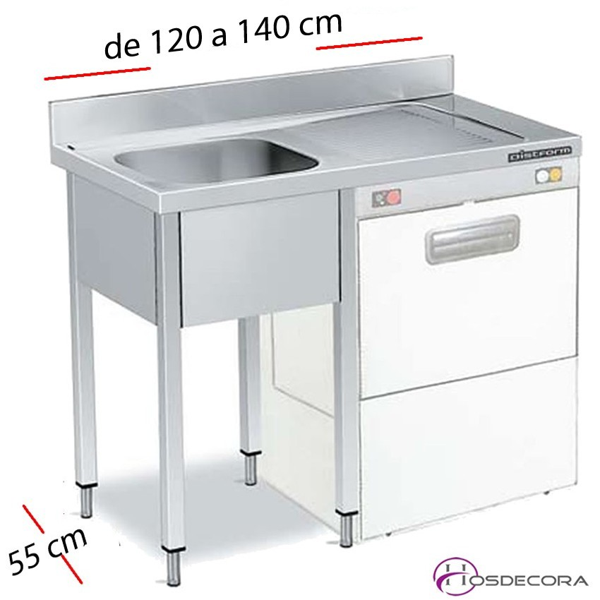 Fregadero inox 100 x 50 cm sin estante - 1 Cubeta esc Dcha