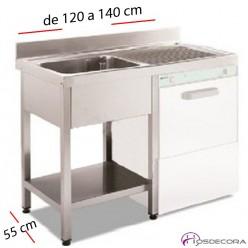 Fregadero inox  120 x 50 cm sin estante - 1 Cubeta esc Dcha