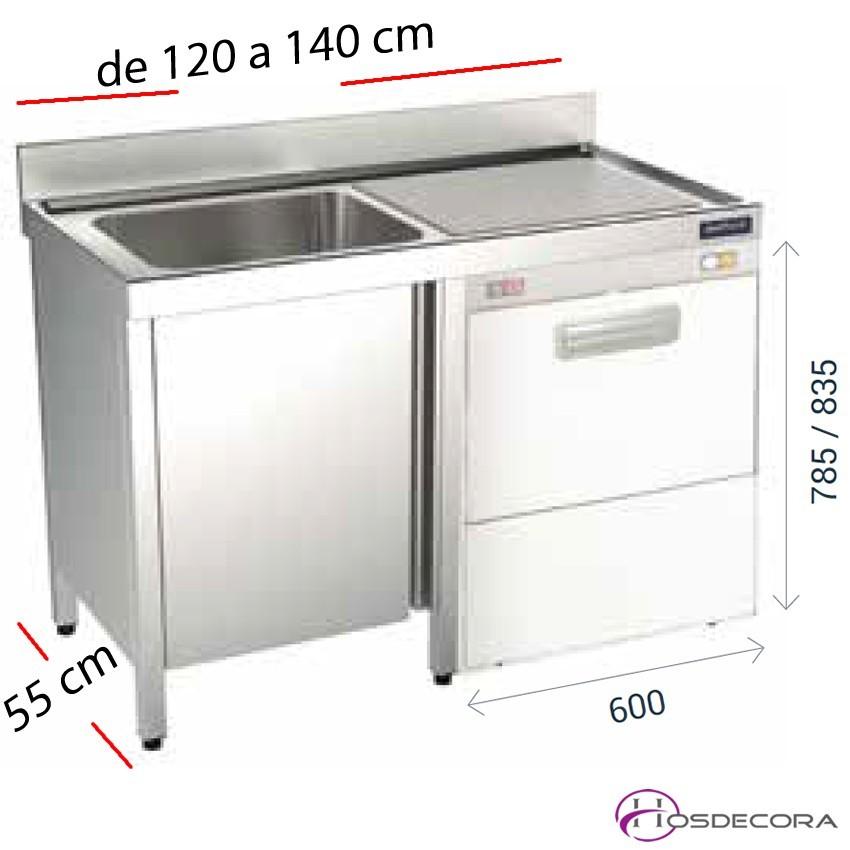 Fregadero inox 80 x 50 cm Con estante - 1 Cubeta esc Izda