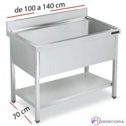 Fregadero inox  80 x 50 cm sin estante - 1 Cubeta esc Izda