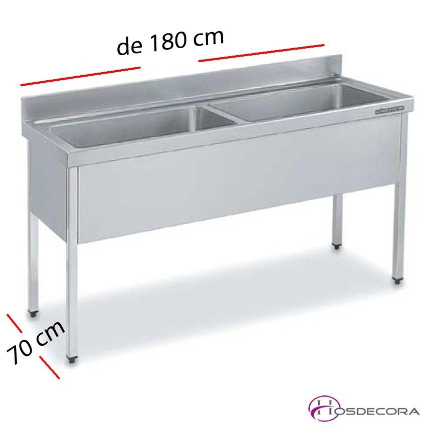 Fregadero inox 100 x 50 cm Con estante - 1 Cubeta esc Dcha