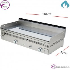 Plancha a Gas Cromo Duro 90x60 cm -20mm-PC-90-N