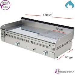 Plancha a Gas Cromo Duro 120x60 cm -20mm-PC-120-N