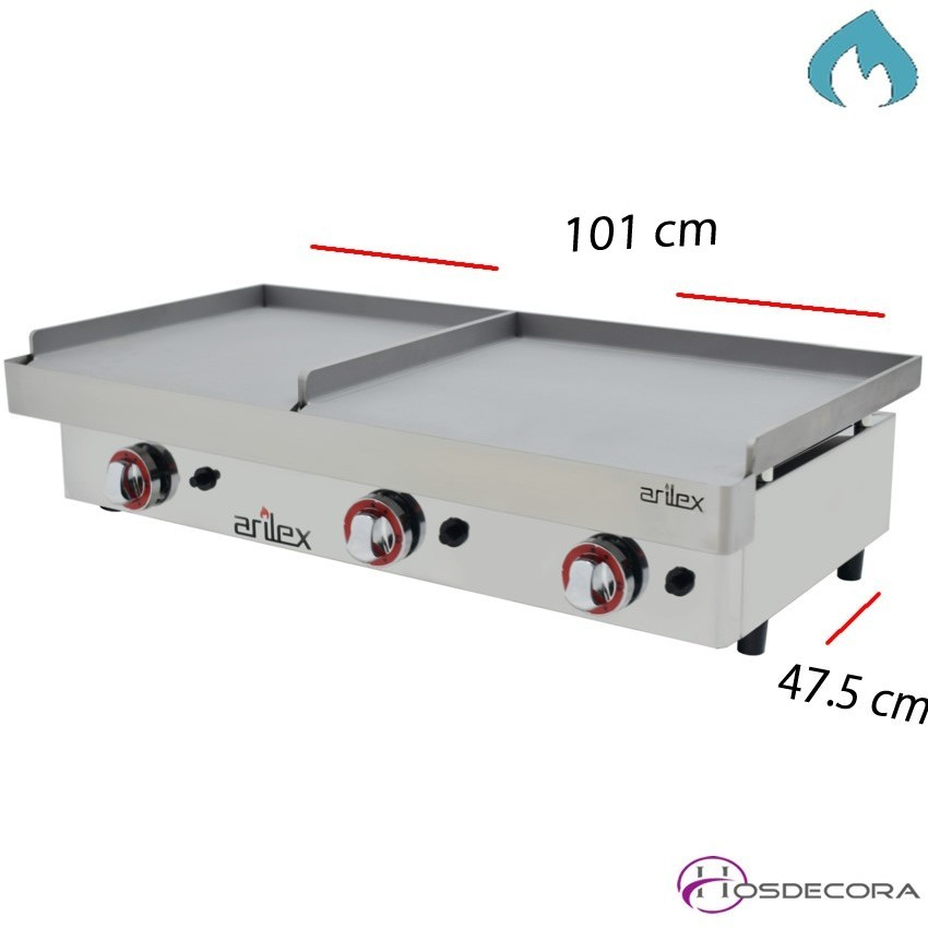 Plancha doble de cocer a gas Acero- 6.4 KW. -6mm.