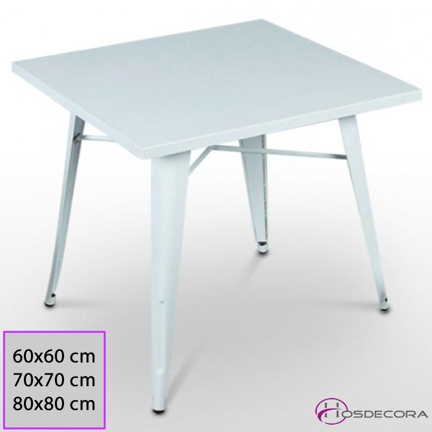 Mesa de acero Brillante Retro 60x60 Werzalit - TORLA