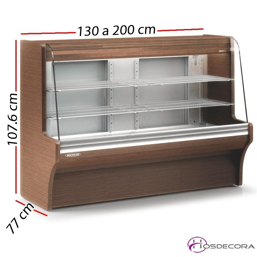 Mostrador refrigerado madera Fondo 77 cm