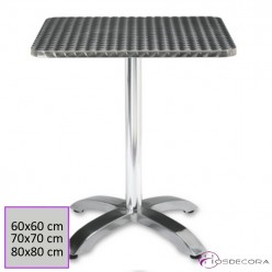 Mesa de Terraza Aluminio Tablero 60 cm. Inox - MENTRIDA
