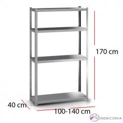 Estantería de acero inox 4 estantes alto 170 cm