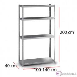 Estantería 4 estantes de acero inox alto 200 cm