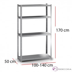 Estantería de pie con 4 estantes 170x50cm