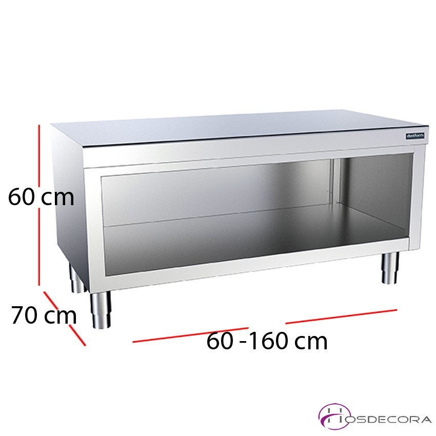 Mueble con encimera central sin puertas fondo 70cm