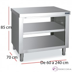 Mueble central pasante con estante fondo 70