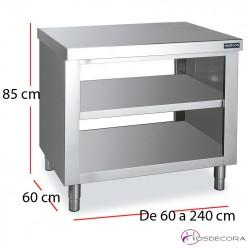 Mesa pasante central con estante fondo 60