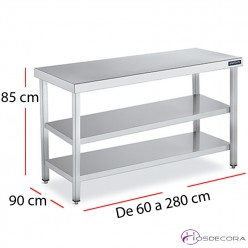 Mesa de trabajo dos estantes fondo 90 cm  - largo de 60 a 280 cm