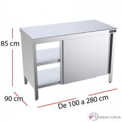 Mesa central pasante con puertas f90 - Largo de 100 a 280 cm