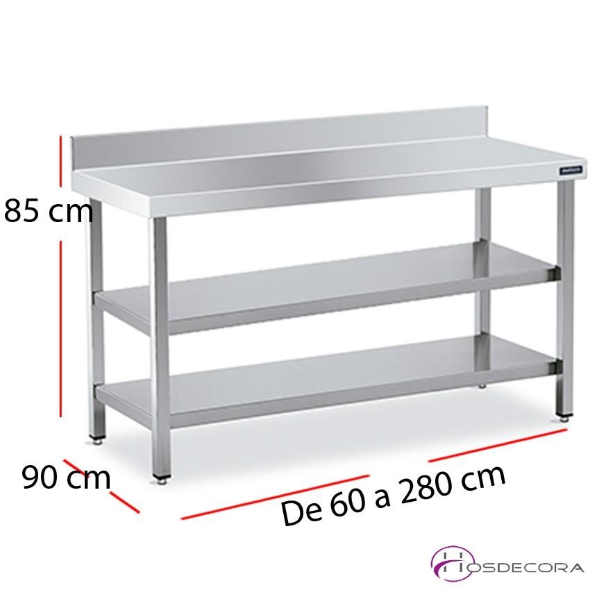 Mesa con 2 estantes encimera mural f90 - largo de 60 a 280 cm