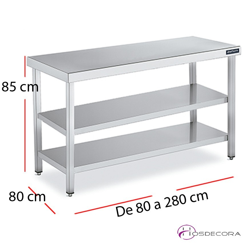 Mesa central dos estantes fondo 80 cm  - largo de 60 a 280 cm