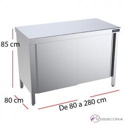 Mesa inox central puertas f80 - Largo de 80 a 280 cm